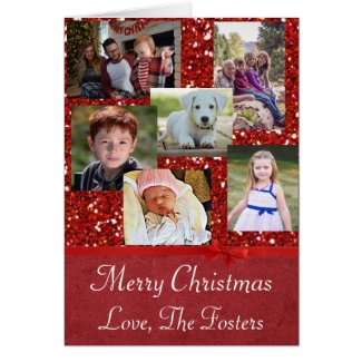 Custom Family Photo Red Glitter Christmas Card
