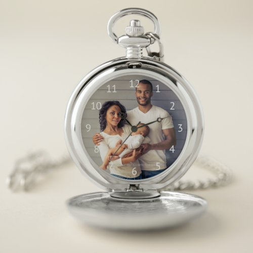Custom Family Photo White Numbers Pocket Watch