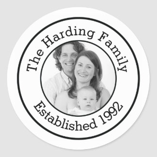 Custom Family Photo with Established Year Classic Round Sticker