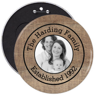 Custom Family Photo with Name Faux Burlap 6 Inch Round Button