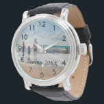 """Custom family photo with text watch<br><div class=""""desc"""">Add Your favorite photo from a summer vacation,  travel,  kids,  girlfriend/boyfriend or pet.  Black numbers.  Template for your text,  black letters.</div>"""