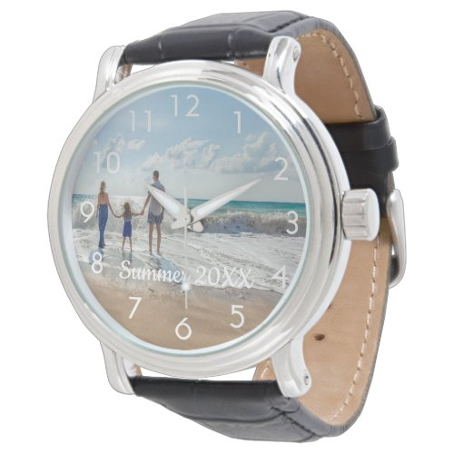 Custom family photo with text watch white
