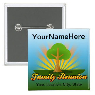 Custom Family Reunion, Green Tree with Sun Rays 2 Inch Square Button