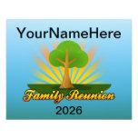 "Custom Family Reunion, Green Tree with Sun Rays 4.5"" X 5.6"" Flyer"
