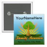 Custom Family Reunion, Green Tree with Sun Rays Button