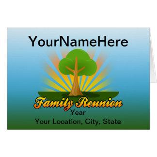 Custom Family Reunion, Green Tree with Sun Rays Card