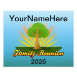 Custom Family Reunion, Green Tree with Sun Rays Flyer Design