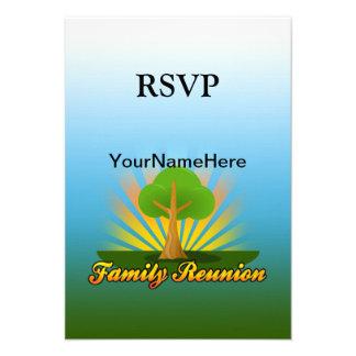 Custom Family Reunion Green Tree with Sun Rays Invitations