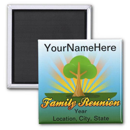 Custom Family Reunion, Green Tree with Sun Rays Magnet
