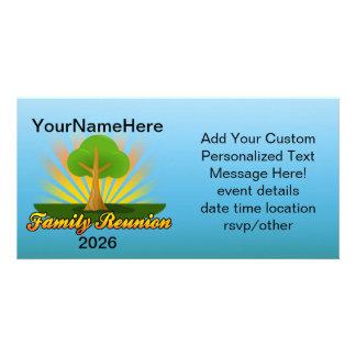 Custom Family Reunion, Green Tree with Sun Rays Photo Card