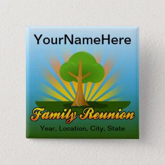 Custom Family Reunion, Green Tree with Sun Rays Pinback Button