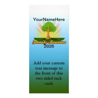 Custom Family Reunion, Green Tree with Sun Rays Rack Card
