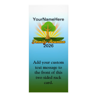 Custom Family Reunion, Green Tree with Sun Rays Customized Rack Card