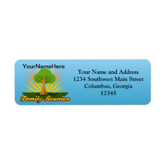 Custom Family Reunion, Green Tree with Sun Rays Return Address Label