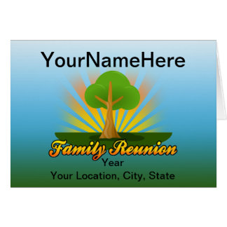 Custom Family Reunion, Green Tree with Sun Rays Stationery Note Card