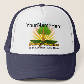 Custom Family Reunion, Green Tree with Sun Rays Trucker Hat
