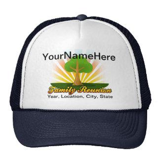 Custom Family Reunion, Green Tree with Sun Rays Trucker Hat