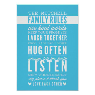 CUSTOM FAMILY RULES modern typography aqua blue Poster