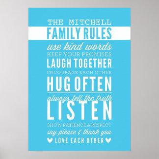 CUSTOM FAMILY RULES modern typography aqua blue Poster