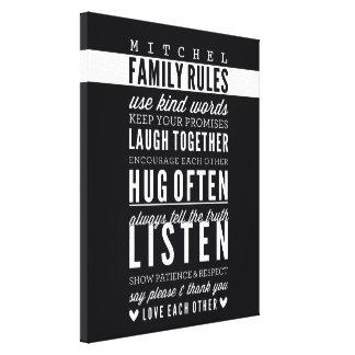 CUSTOM FAMILY RULES modern typography bold black Canvas Print