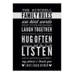 CUSTOM FAMILY RULES modern typography bold black Poster