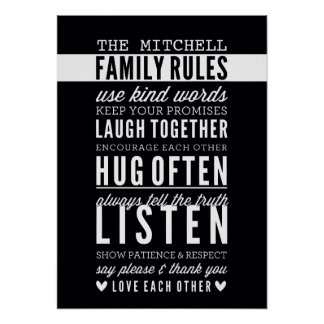 CUSTOM FAMILY RULES modern typography bold black Poster