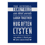 CUSTOM FAMILY RULES modern typography dark blue Poster
