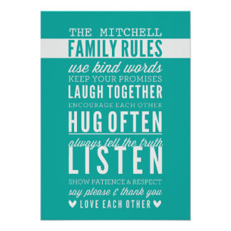 CUSTOM FAMILY RULES modern typography jade green Posters