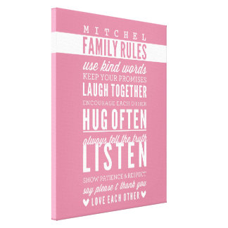 CUSTOM FAMILY RULES modern typography rose pink Canvas Print