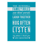 CUSTOM FAMILY RULES modern typography turquoise Poster