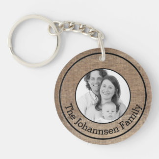 Custom Family Surname and Photo on Burlap Style Keychain