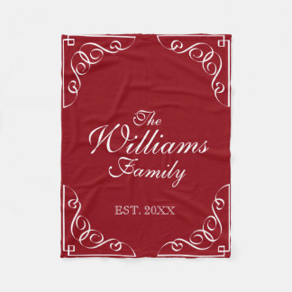 Custom family surname burgundy red fleece blanket