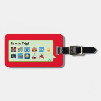 Custom family vacation emoticons phone message… luggage tag
