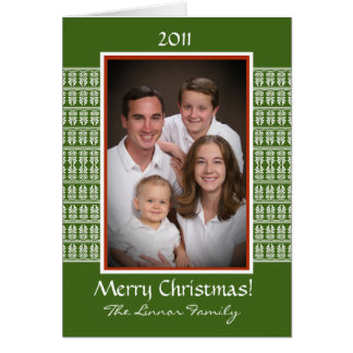 Custom Famliy Photo Card in Red, Green, and White