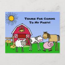 Custom Farm Theme Birthday Thank You Postcard