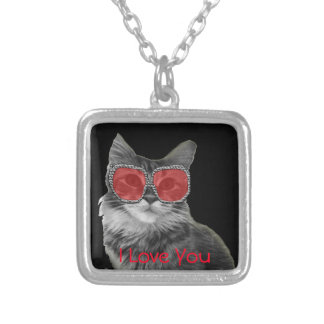 Custom fashion black and white cat with glasses square pendant necklace