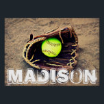 "Custom Fastpitch Softball Player Poster<br><div class=""desc"">Add any text you wish to create your very own beautiful fastpitch softball poster. Check out our shop - Custom Sports Gear - for lots of other great softball gifts and accessories!</div>"