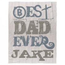 Custom Father's Day Best Dad Fleece Blanket