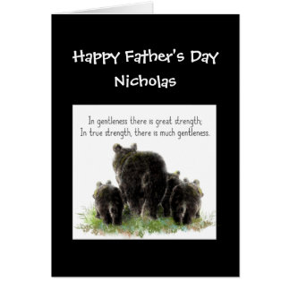 Custom Father's Day Poppa Bear Wife & Kids Humor Card