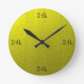 Custom Faux 24k Solid Gold Round Clock