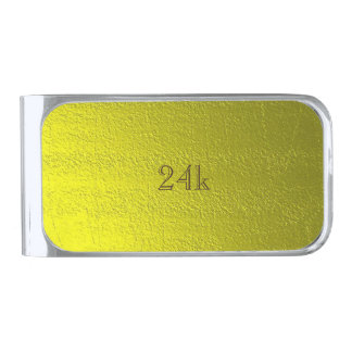 Custom Faux 24k Solid Gold Silver Finish Money Clip