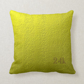Custom Faux 24k Solid Gold Throw Pillow