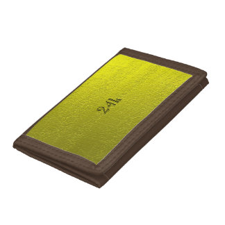 Custom Faux 24k Solid Gold Tri-fold Wallets