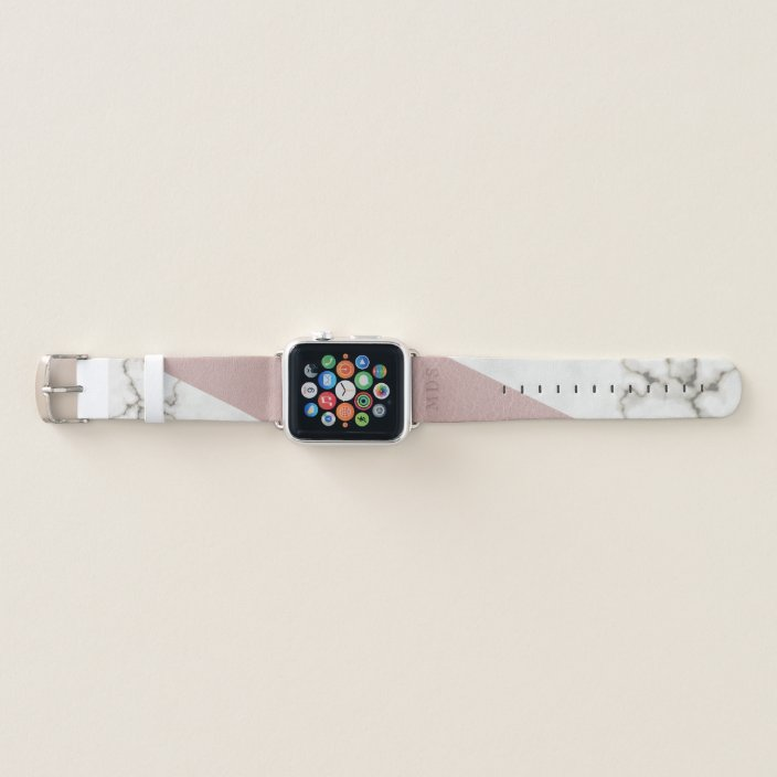 Custom Faux Blush Leather Marble Modern Monogram Apple Watch Band Zazzle Com