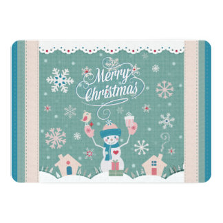 Custom Faux Canvas Christmas Snowman Greeting Card