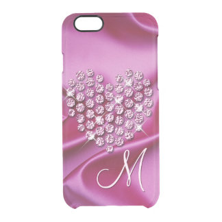Custom Faux Diamonds Heart Pink Silk Waves Pattern Clear iPhone 6/6S Case