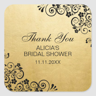 Custom Faux Gold Foil Bridal Shower Thank You Square Sticker