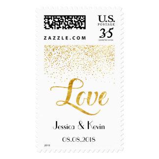 Custom Faux Gold Foil Confetti Love Wedding Invite Postage