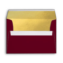 Custom Faux Gold Foil Insert BURGUNDY Red Wedding Envelope