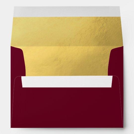 custom faux gold foil insert burgundy red wedding envelope zazzle com